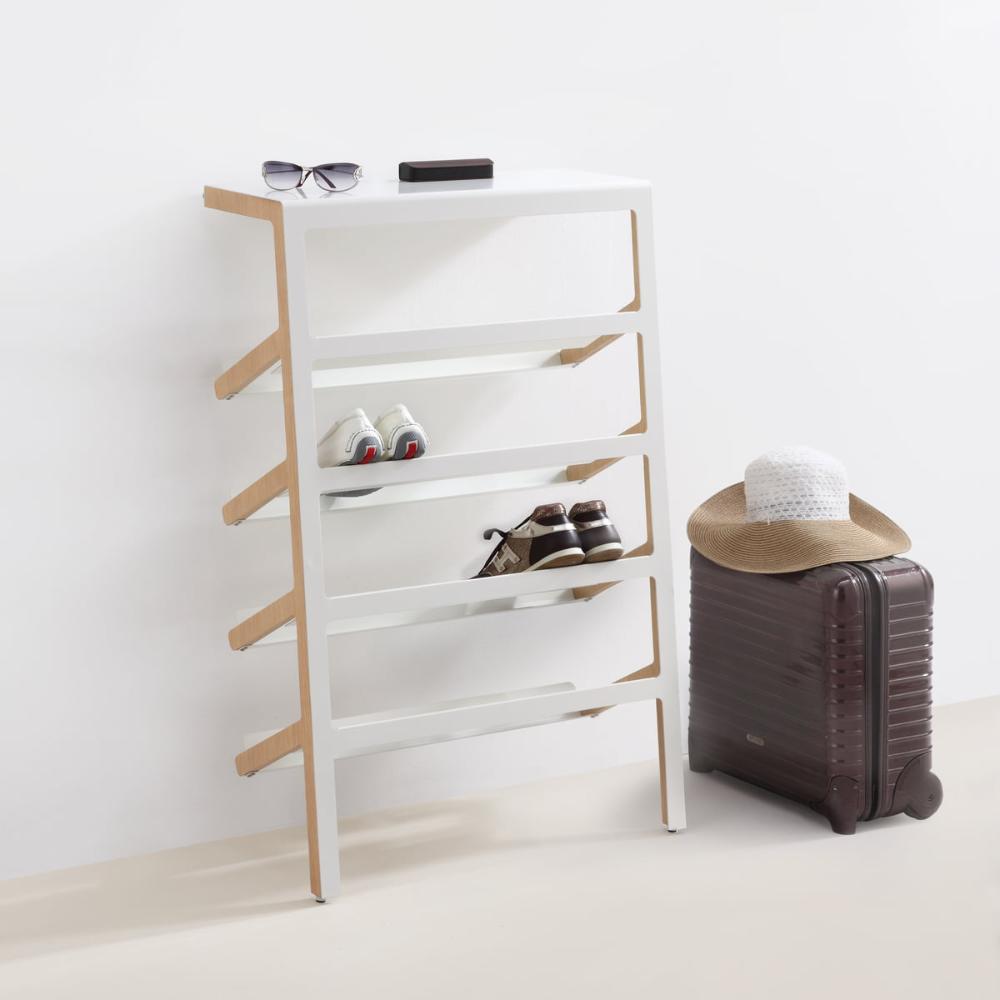 Mila Shoe Rack Oak Wood Shiny White In 2020 Rack Design Diy Shoe Rack Shoe Cabinet Design