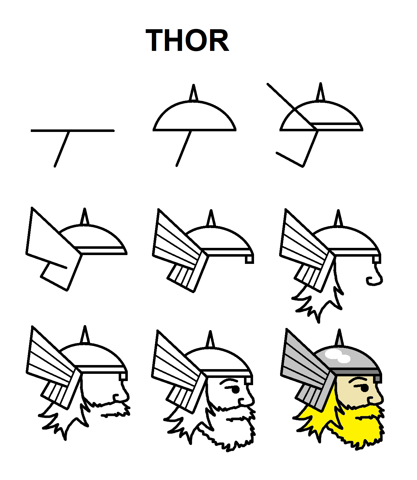 Thor With The Letter T Drawing Superheroes Drawing Cartoon Characters Marvel Drawings