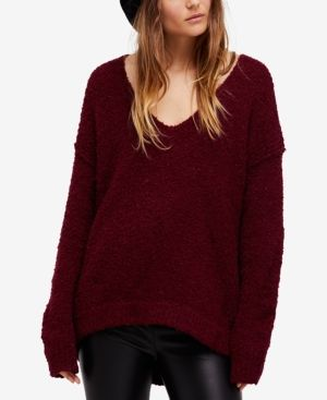Free People Lofty Boucle-Knit Sweater - Purple XS