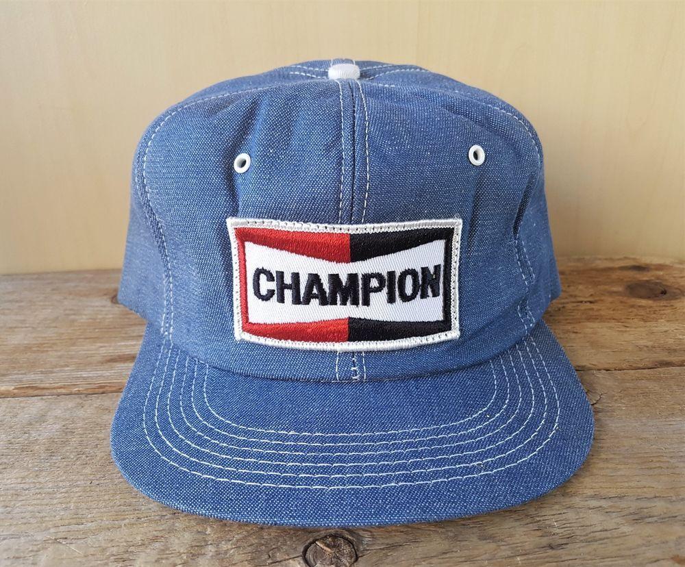 477d859c28 Vintage 1980s CHAMPION Spark Plugs Denim Snapback Hat Jean Cap K Brand  Canada  BaseballCap