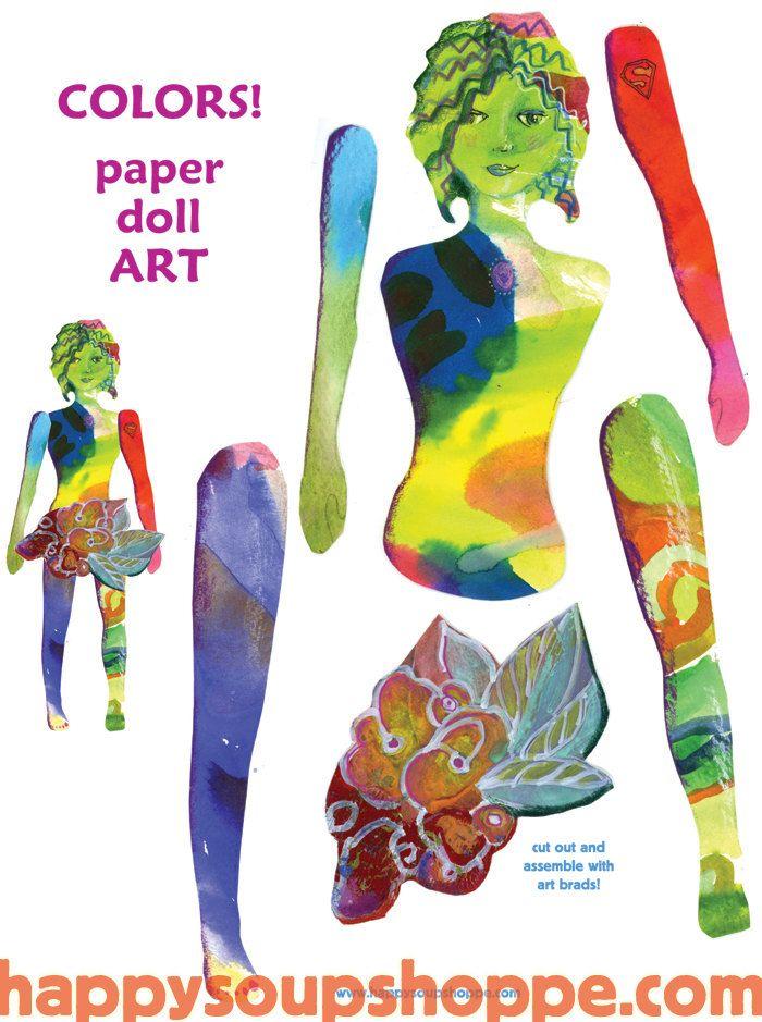 Color Flowers Paper Doll ART. By Cathy Stevens Pratt, via Etsy.