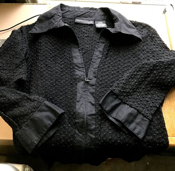 "Size Large Impressions Zip Up Front Long Sleeve Top ""New and Black in Color"""