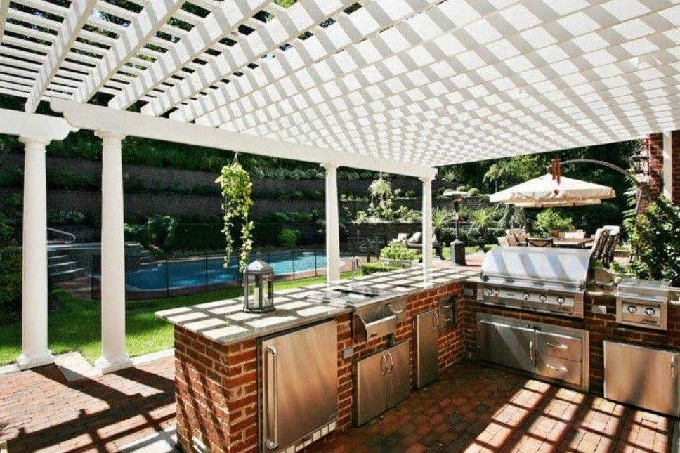 kitchen inspiration for outdoor kitchen cabinets lowes neat red brick floor neat white wooden roof