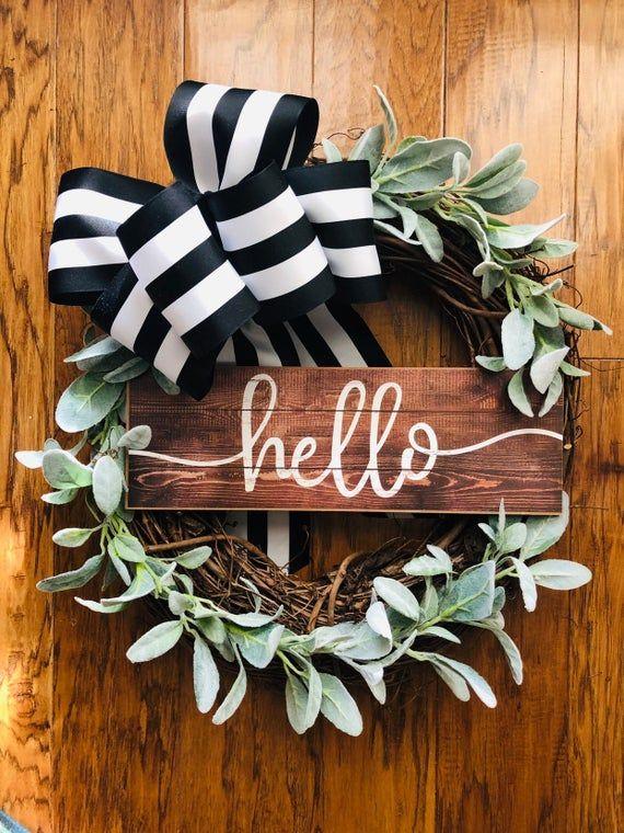 Photo of Spring Wreath- Farmhouse Wreath- Front Door Wreath- Grapevine Wreath-  Farmhouse Decor- Door Decor- Front Door Wreath- Every day Wreath-
