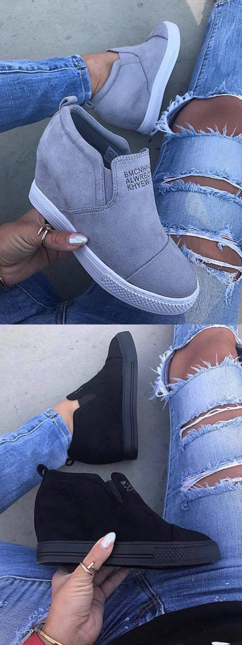00cf13e2743eb4  42.99 USD Sale! Free Shipping! Shop Now! Fashion Letter Slip On Wedge Suede  Sneakers