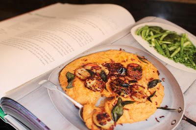 Jamie Oliver's Golden Scallops, Sun Blush Mash and Green #15 minute meals #blogging food challenge