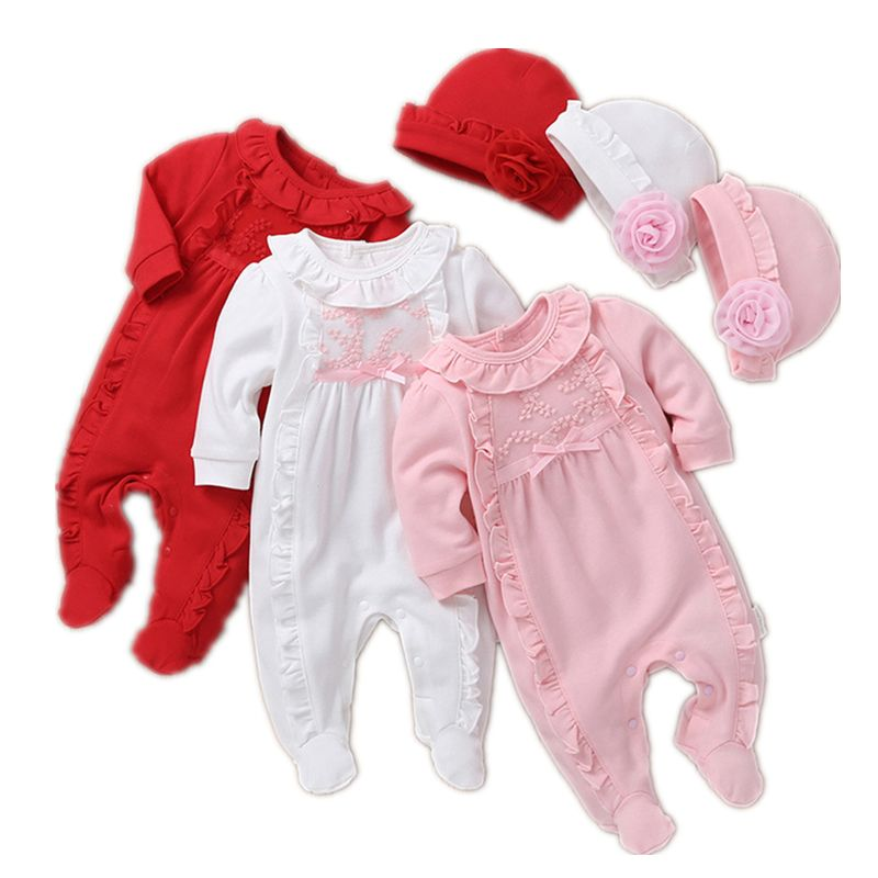 11 18us Princess Baby Girl Clothes Set Newborn Girls Long Sleeve Ruffles Rompers Hats 2pcs Outfits Clothing Sets Infant Jumpsuit 0 12m Clothing Sets A Baby Girl Outfits Newborn Baby