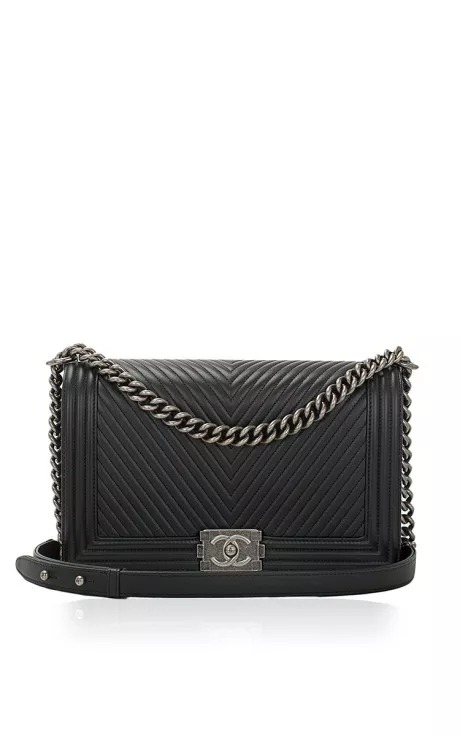 2704c74b Chanel Black Herringbone Chevron Calfskin Large Boy Bag by Madison ...