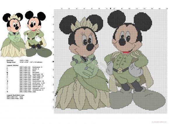 Mickey y Minnie Mouse Tiana y el Sapo patron punto de cruz   Disney ...