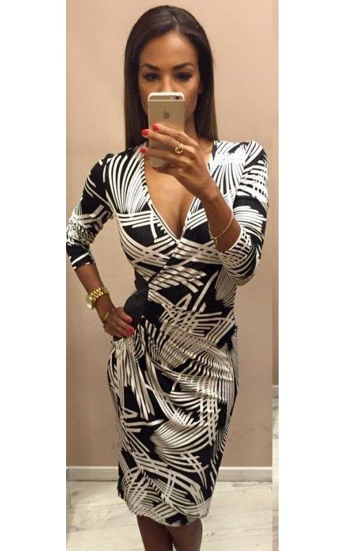 fcaf52b037 Envy fekete-fehér oldalt bőrbetétes ruha | envy fashion | Fekete ...