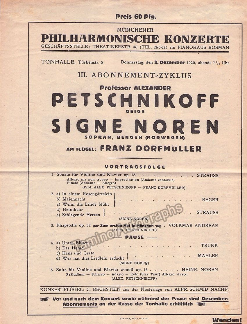 Petschnikoff Alexander  Concert Program Munich   Munich And