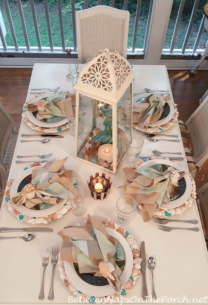 Summer Nautical Table Setting with Shell Chargers Coastal Breeze Plates u0026 Sailboat Flatware from Between Naps on the Porch. & Sailing With Mermaids | Nautical table Cutlery and Breeze