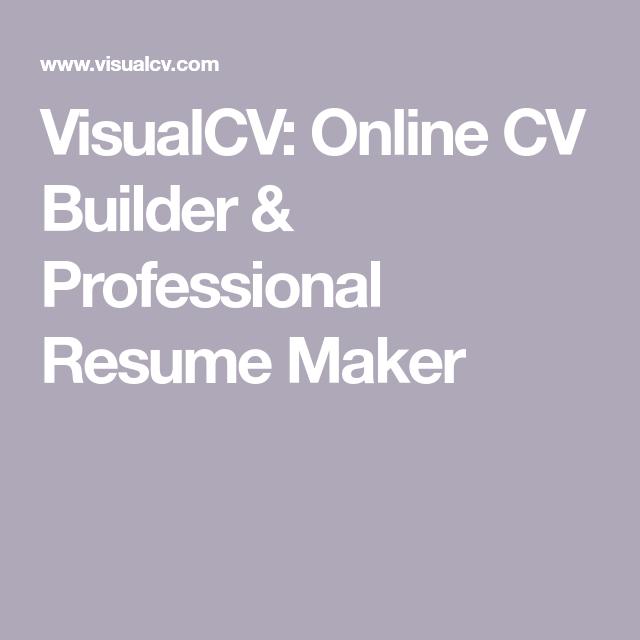 Visualcv Online Cv Builder Professional Resume Maker If You