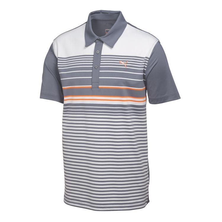 Puma YD Stripe Mens Golf Polo Folkstone Gray