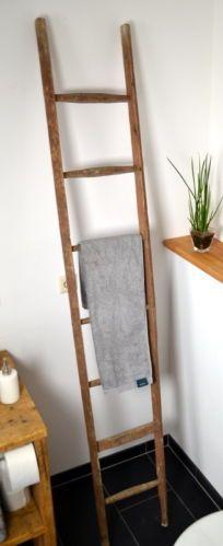 317 Antike Leiter 217 Cm Holzleiter Handtuchhalter Braun