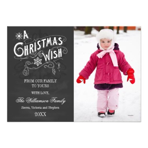 © 2012 Socialite Designs.  Send out your Christmas greeting with this elegant vintage typography text, snowflakes and chalkboard-look card.  Replace our template photo with your own. This photo card makes a beautiful keepsake for your family and friends. #photocards #holidayphotocards #christmasphotocards