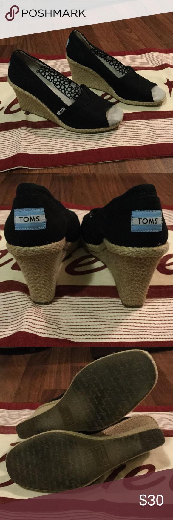 Toms size 8 black wedge peep toe shoe Toms size 8 black wedge peep toe shoe. Can't get enough of the Black and Tan combo! Currently $51 on TOMS website and these are barely used. #PlywoodAndPearls TOMS Shoes Wedges