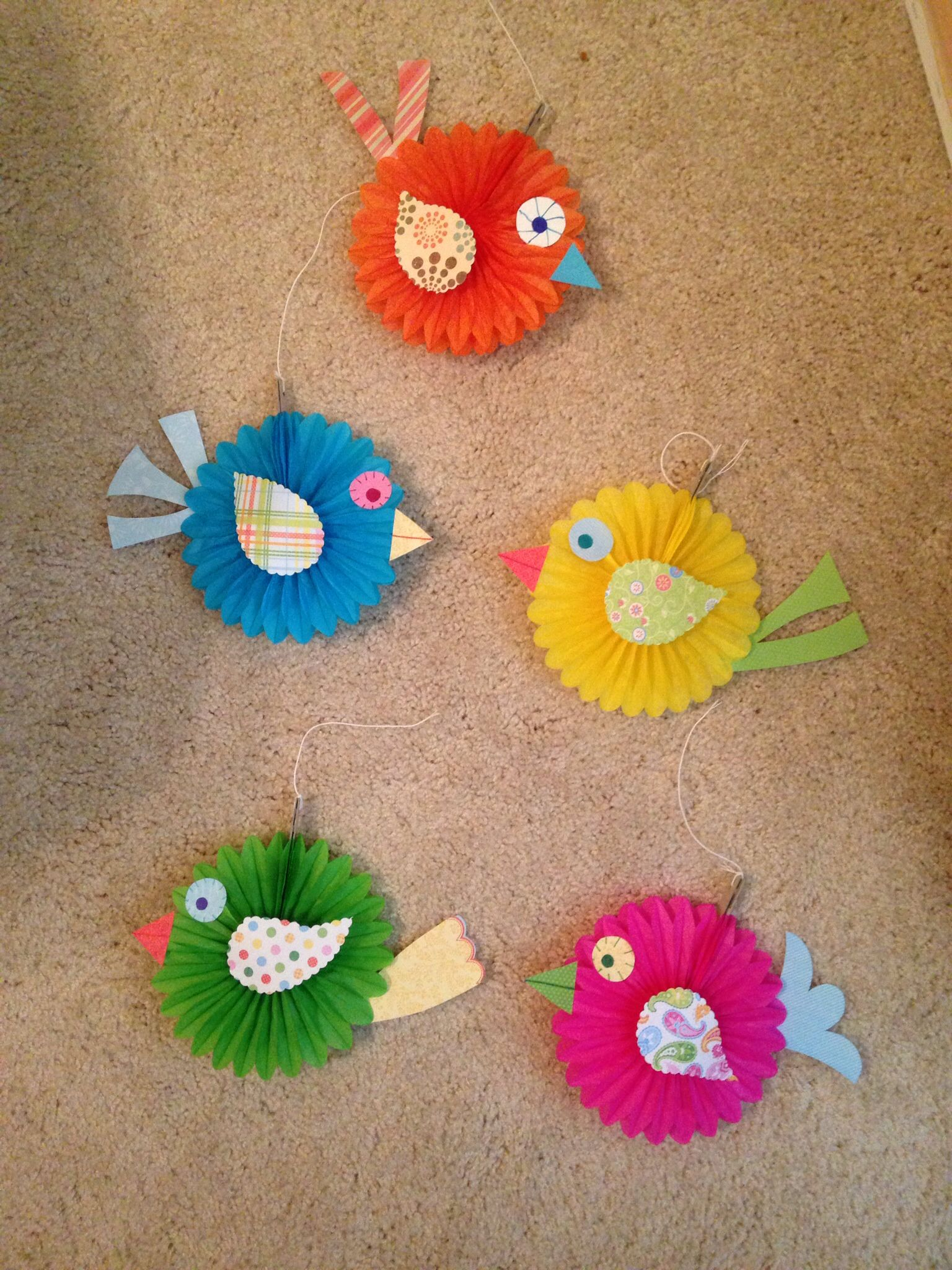 Made these cute boho birds to match the classroom bulletin for Sticky boards for crafts