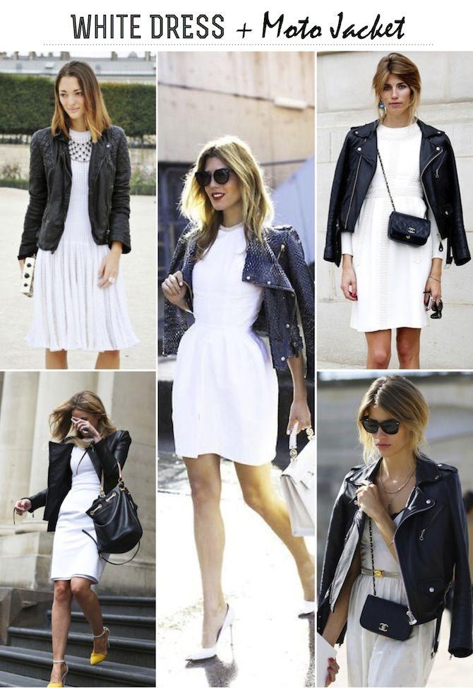 Frankie Hearts Fashion White Dress Moto Jacket Fashion Style Casual White Dress