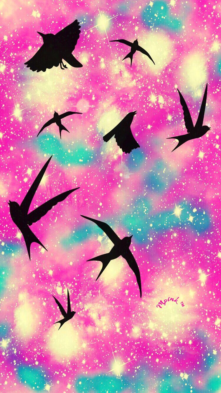 Pastel Birds iPhone/Android Wallpaper lockscreen pink