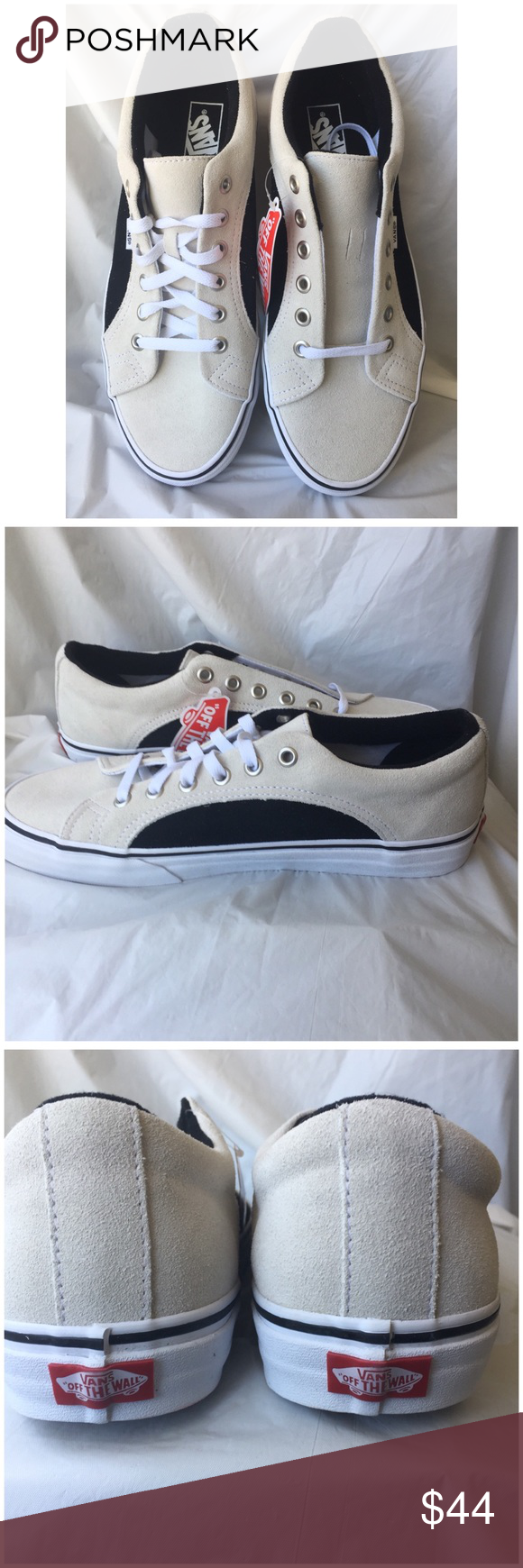 ad92bf737e Vans Lampin (2-tone Suede) 80 Suede upper Lace up with metal eyelets  Signature waffle outsole Color  True white Black New