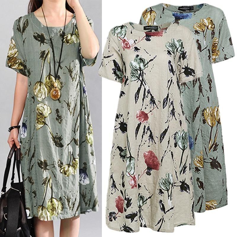 733f3b6b29974 Celmia Women Summer Dress 2019 Casual Short Sleeve Pockets Loose ...