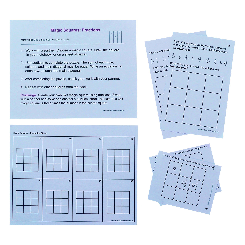 5th Grade Number Free Math Centers 5th Grade Math Magic Squares