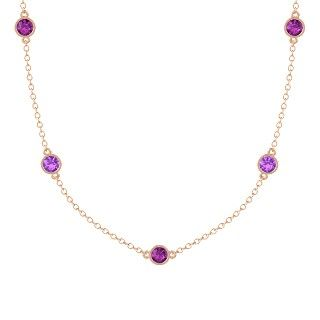 Round Ruby 14K Rose Gold Necklace with Diamond & Ruby - perspective