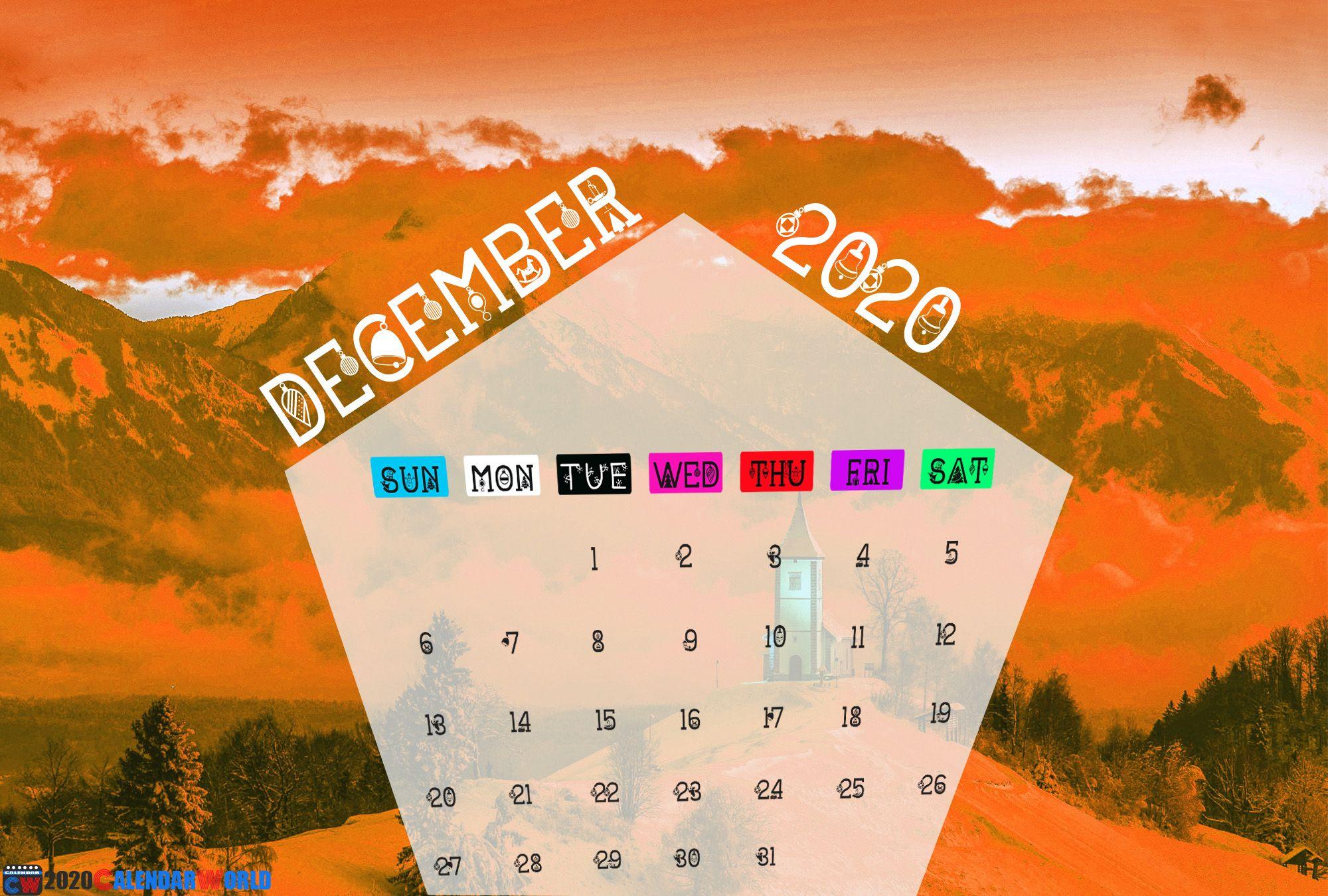 December 2020 Calendar Wallpaper for iPhone, Desktop & Tablets