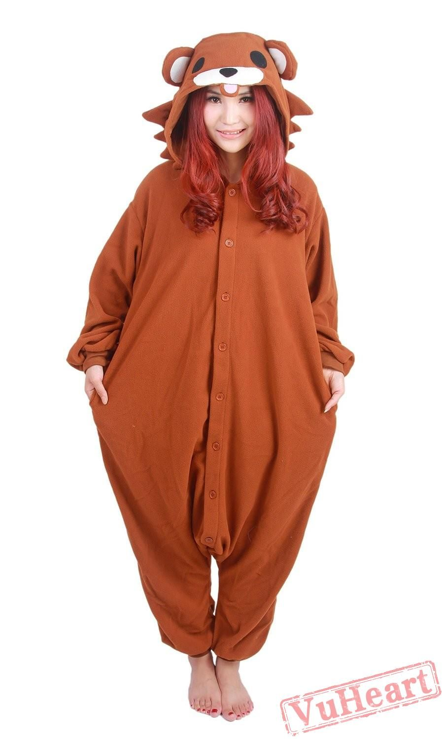 b5fa83e7bc3a Cartoon Brown Bear Kigurumi Onesies Pajamas Costumes for Women   Men ...