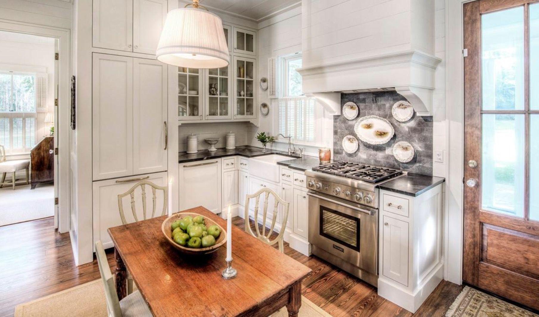 Nice small kitchen. Paneled appliances. | Beach cottage ...
