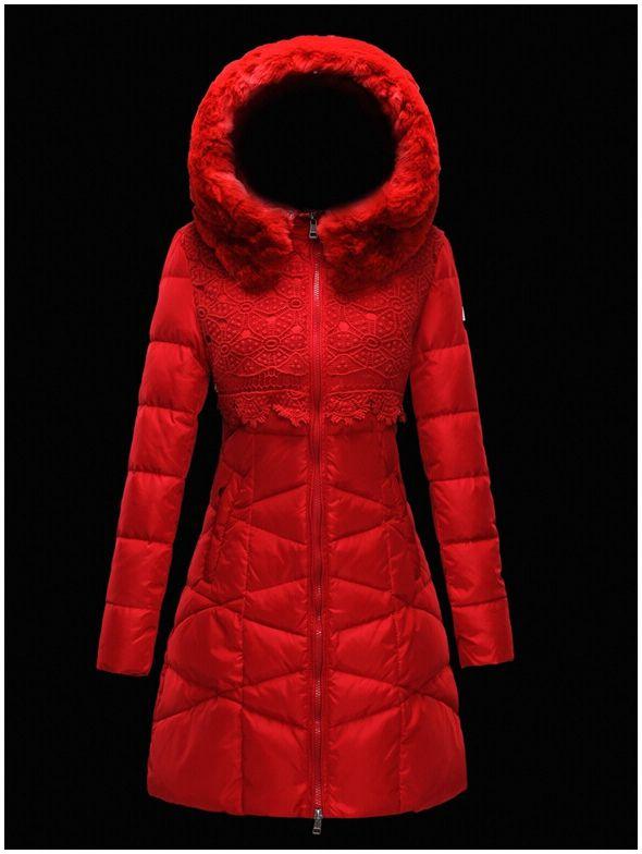 manteau moncler doudoune femme longue capuchon de fourrure rouge ... 131076298ab