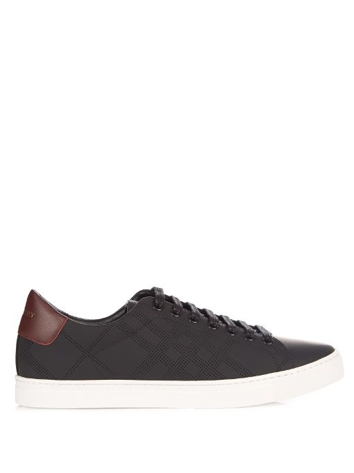 3cdd967e259d BURBERRY Albert perforated-check low-top leather trainers.  burberry  shoes   sneakers