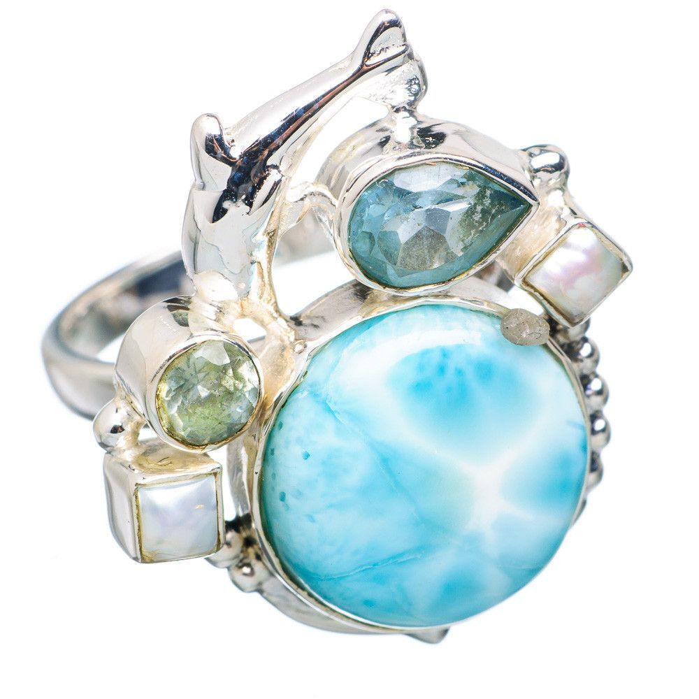 Rare Larimar Dolphin, Blue Topaz, Cultured Pearl 925 Sterling Silver Ring Size 8 RING729813