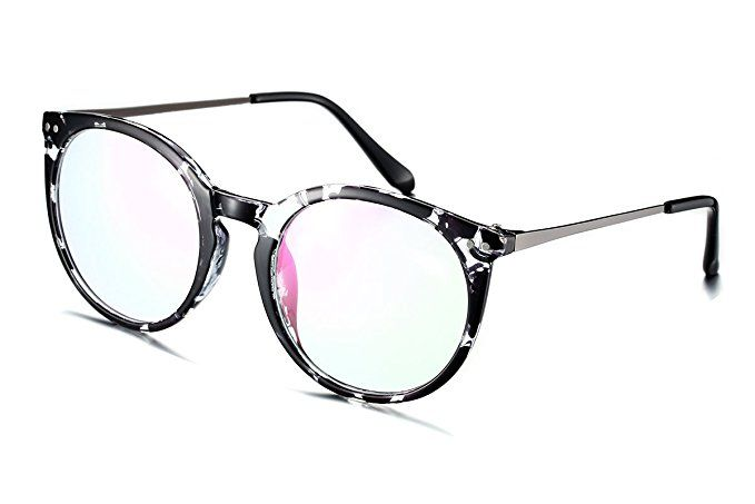 ff4b1464242 PenSee Oval Circle Oversized Glasses Frames Metal Clear Lens Eyeglasses  Review
