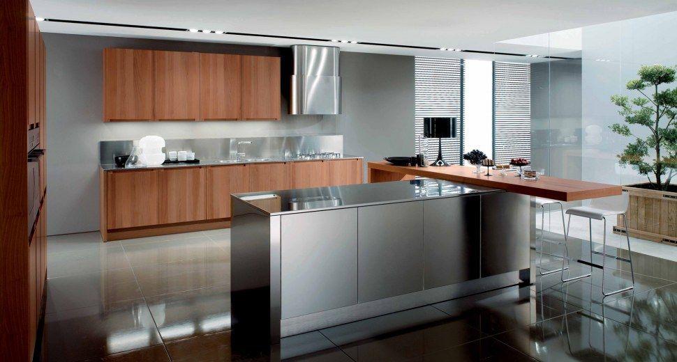 #Cucina modulare in legno di noce dalle linee pulite e design razionale  by @Gruppo Euromobil