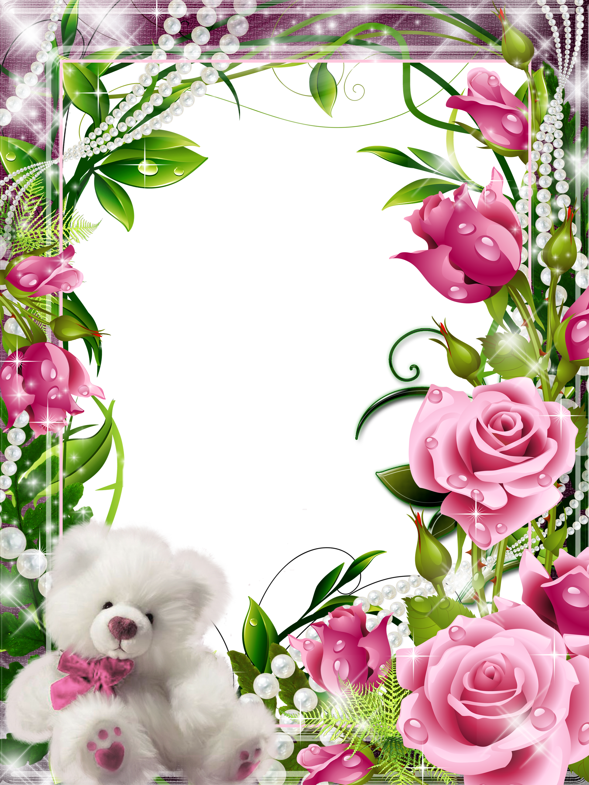 Transparent Frame with Pink Roses and White Teddy ‡ER‡EVE