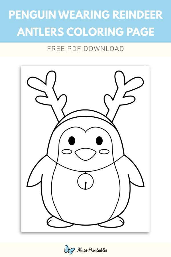 Free Penguin Wearing Reindeer Antlers Coloring Page Penguin Coloring Pages Coloring Pages Christmas Coloring Pages
