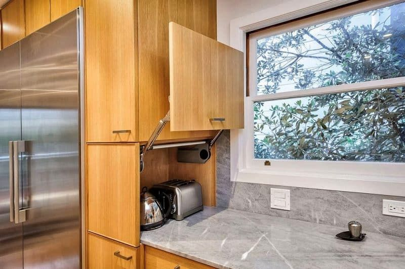 Cool Slim Natural Maple Cabinets With Built In Refrigerator And Download Free Architecture Designs Scobabritishbridgeorg