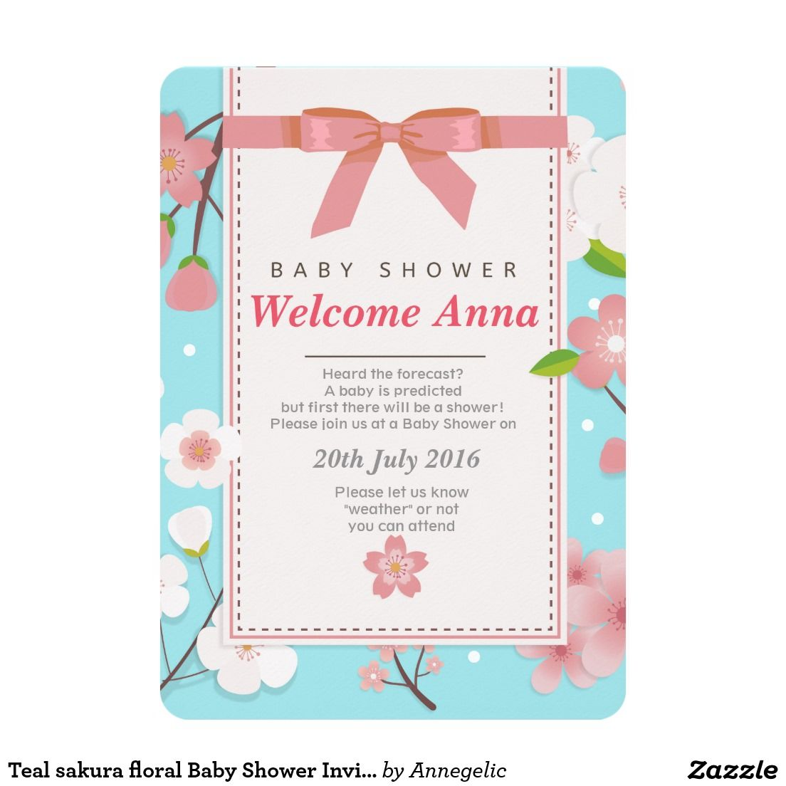Create your own Invitation   Zazzle.com   Floral baby ...