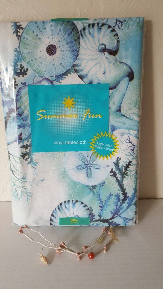 Details About Summer Fun Coastal Vinyl Tablecloth 60 Round Sea Life