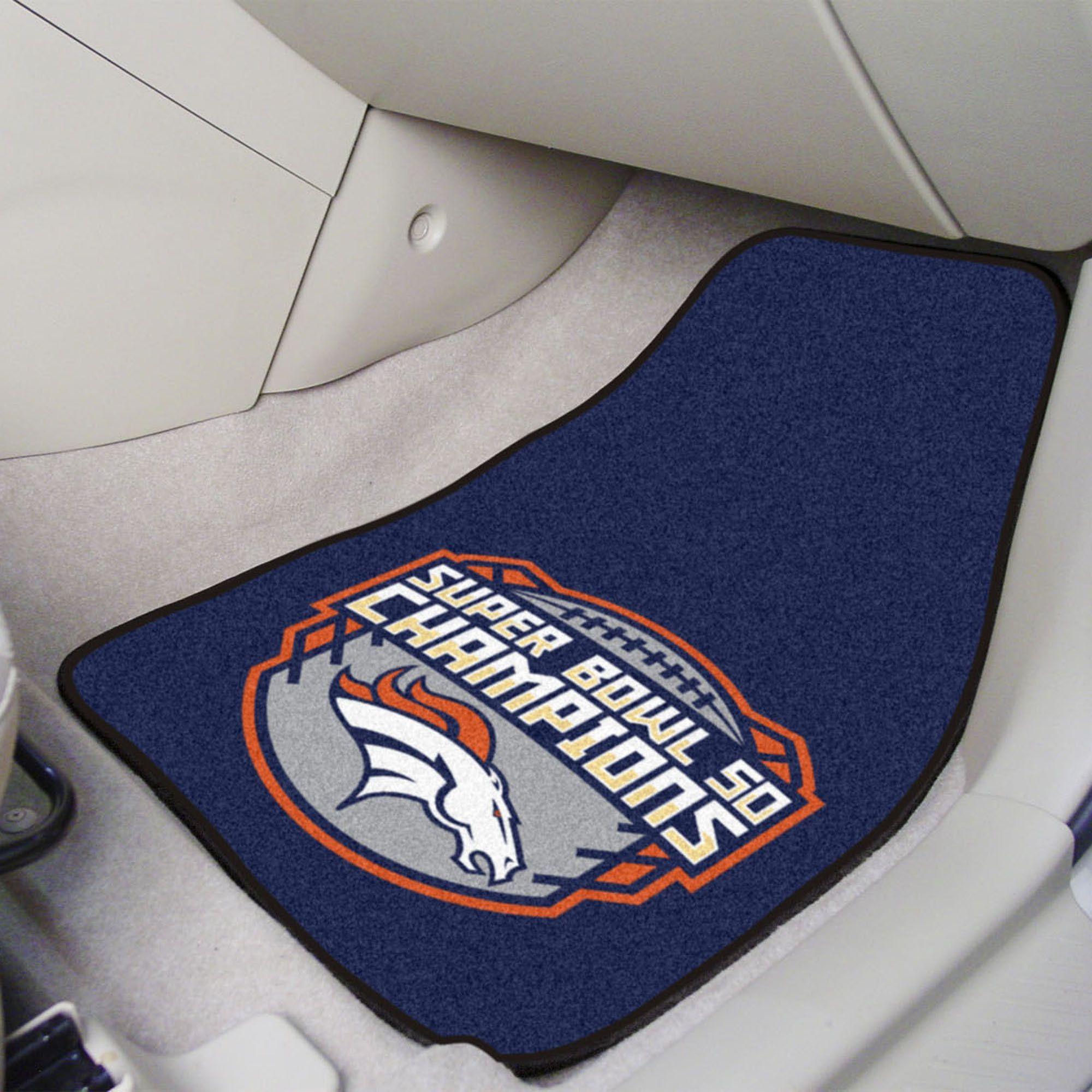 2 Piece Carpet Car Mat Set Denver Broncos Super Bowl 50 Champs With Images Denver Broncos Super Bowl Denver Broncos Womens Broncos