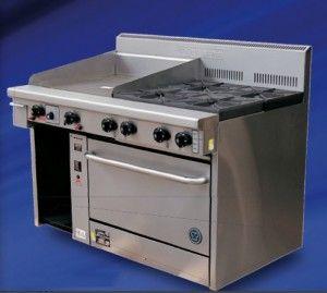 GOLDSTEIN 4 Burner 300mm Griddle Gas Oven PF-12G-4-28 | Commercial Kitchen Equipment Australia