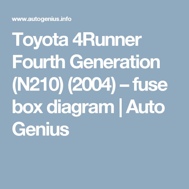 toyota 4runner fourth generation n210 2004 fuse box diagram toyota 4runner fourth generation n210 2004 fuse box diagram auto genius