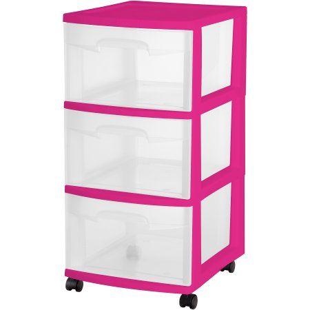 Sterilite 3 Drawer Cart, Fuchsia Supreme, Pink