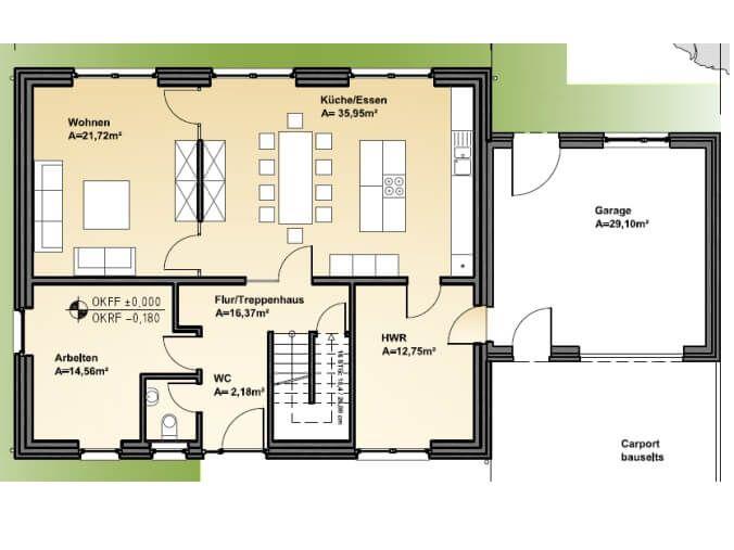 Grundriss Erdgeschoss diese moderne Stadtvilla bauen wir
