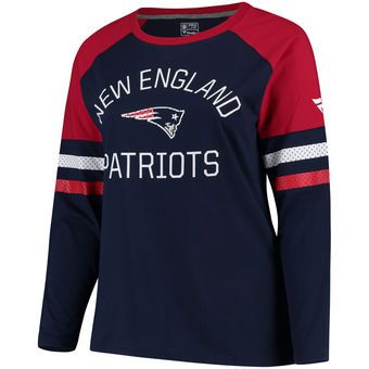 Women s New England Patriots NFL Pro Line by Fanatics Branded Navy Red Plus  Size Iconic Long Sleeve T-Shirt  4c881142d