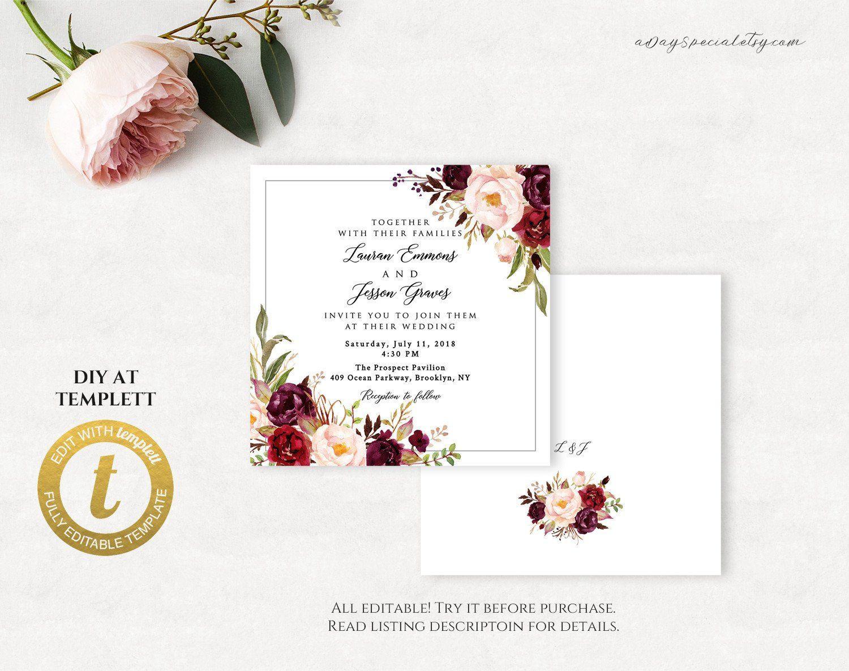 All Editable Burgundy Floral Square Wedding Invitation