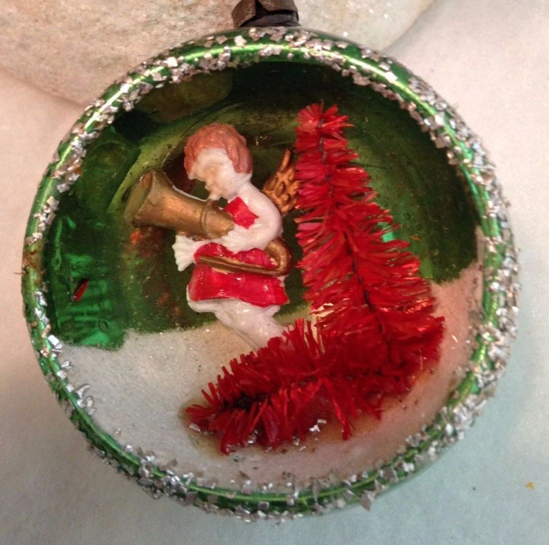 Vintage Mercury Indent Diorama Ornament Angel Blowing Gold