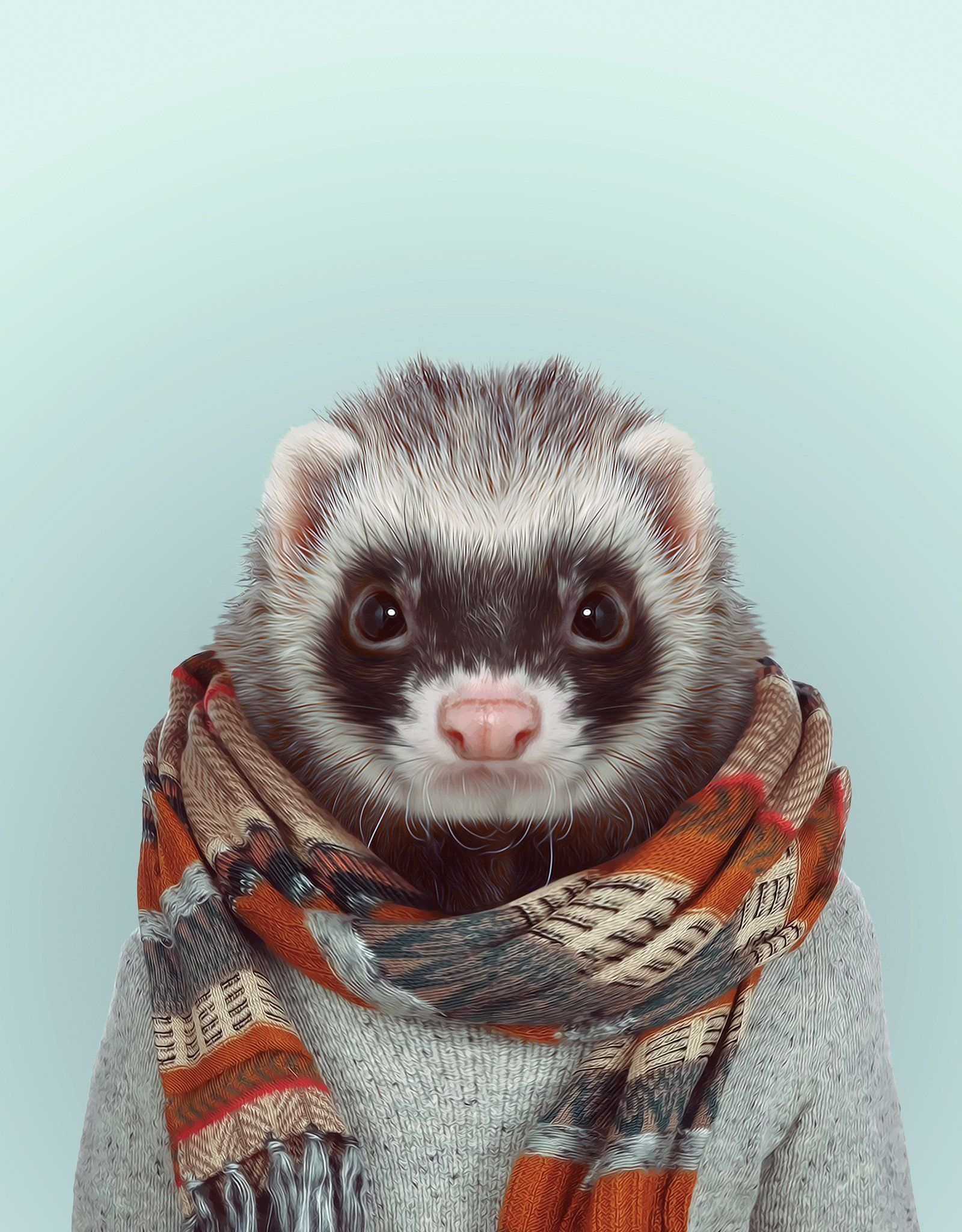 Zoo Portrait: Ferret! Click to view entire shot. Zoo Portraits by artist  Yago Partal combine photography with fashion illustration where Partal's  photos of ...